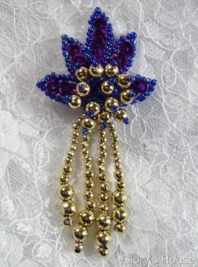 "0073 Purple Gold Leaf Dangle 3"" Sequin Beaded Applique 0073"