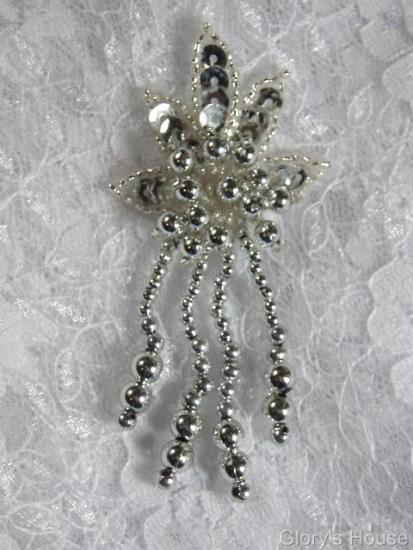 "0073 Silver Leaf Dangle 3"" Sequin Beaded Applique 0073"