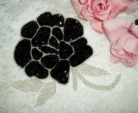 "Elegant Black Rose Floral 6"" Sequin Beaded Applique 0081"