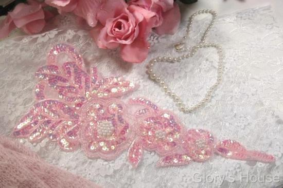 """Pink Pearl Floral (Right)12"""" Sequin Beaded Applique 0160"""