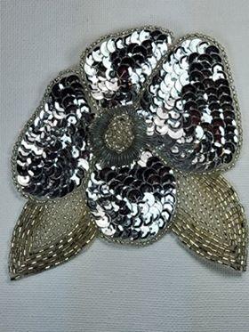 "K8916 Silver Floral  Sequin Beaded Applique 4.5"""