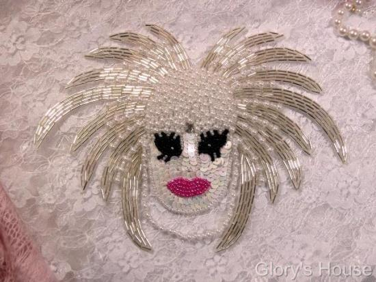 """""""Bad Hair Day"""" 8"""" Sequin Beaded Applique"""