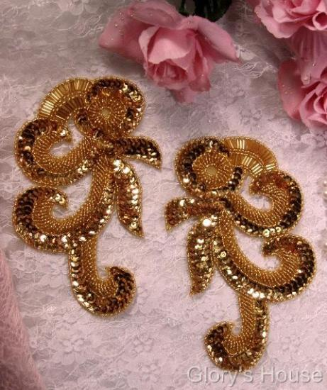 """0069 Gold French Curl Sequin Beaded Appliques 6.5"""""""