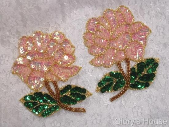 Pink Rose Mirror Pair Sequin Beaded Applique 0074
