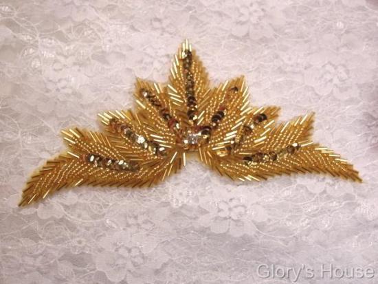"0084 Gold Motif Sequin Beaded Applique 7"""