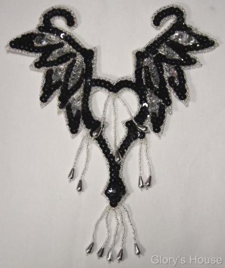 "Black & Silver Yoke Bodice 8.5"" Sequin Beaded Applique 0108"