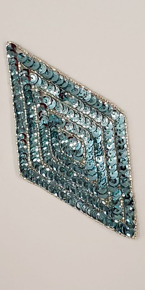 K8385 Light Aqua Diamond Beaded Sequin Applique 5.5""
