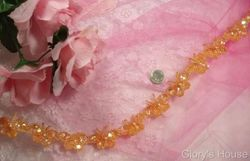 T9516  Peach Butterfly Sequin Beaded Applique or Trim