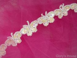 T9516  White AB Butterfly Sequin Beaded Trim