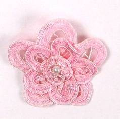 E5552 Pink Double Floral Bouquet Applique 2.5""