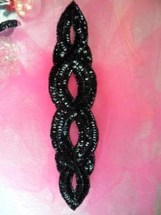 """FS400 Black Designer Sequin Beaded Applique 11"""""""