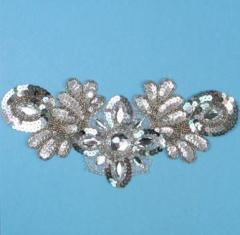 E3432  Silver Holographic Jewel Sequin Beaded Applique Collar 10""