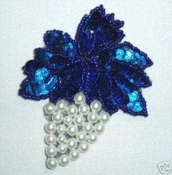 "K8260  Blue Grape Cluster Pearl Sequin Beaded Applique 3.5"""