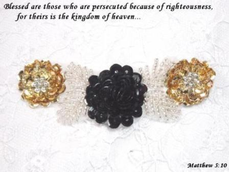 "A0211A  Black Silver Gold Floral Sequin Beaded Applique 4"""