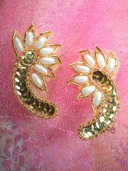 """A0309 Gold Pearl Mirror Pair Sequin Beaded Applique 2.25"""""""