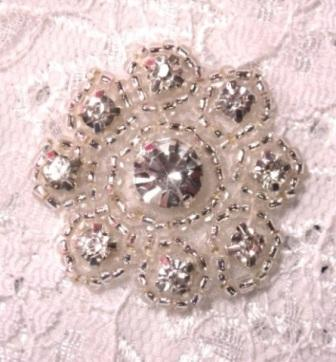 A0478A Rhinestone Floral Silver Beaded Applique 1-3/8""