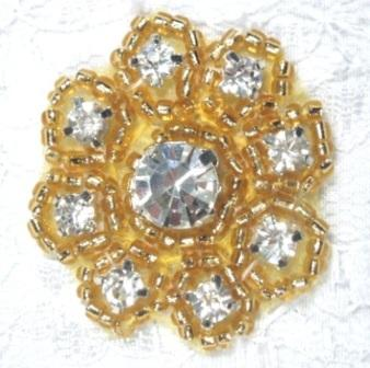 """A0429A  Gold Beaded Rhinestone Floral Applique 1-3/8"""""""