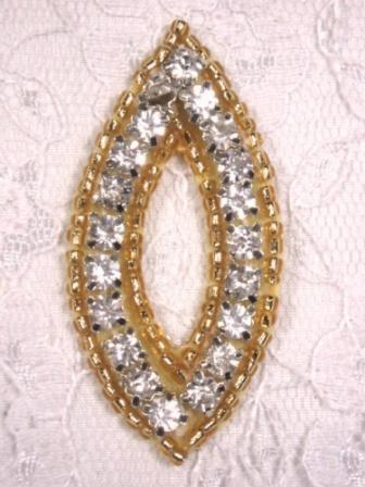 """A0429B  Gold Beaded Rhinestone  Eye Applique 2"""""""