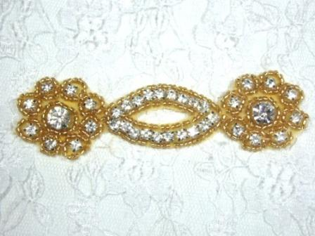 A0429D Gold Clear Rhinestone Beaded Floral Applique 4.25""