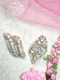 A0468B Set of ( 2 ) Silver Beaded Crystal Rhinestone Leaf Appliques