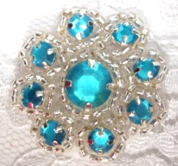 """A0474A  Turquoise Silver Rhinestone Jewel Floral Applique 1.25"""""""