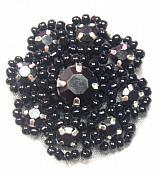"A0474A   Black Rhinestone Jewel Floral Applique 1.25"""