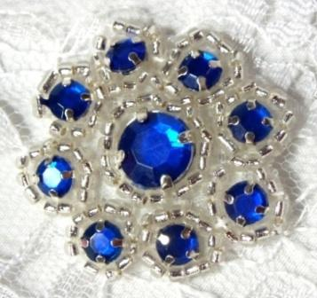 A0474A  Blue Silver Rhinestone Jewel Floral Applique 1.25""