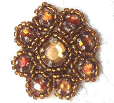 "A0474A  Bronze Rhinestone Jewel Floral Applique 1.25"""