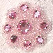 "A0474A  Pink Rhinestone Jewel Floral Applique 1.25"""