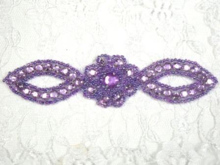 "A0474C   Lavender Jewel Rhinestone Beaded Floral Applique 5"""