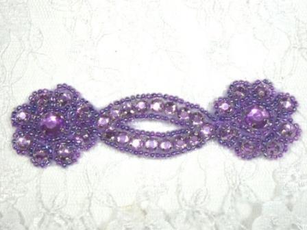 "A0474D  Lavender  Jewel Rhinestone Beaded Floral Applique 4.25"""