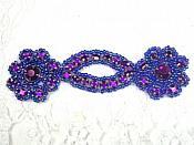 "A0474D Purple Jewel Rhinestone Beaded Floral Applique 4.25"""