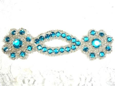 """A0474D  Turquoise Silver Jewel Rhinestone Beaded Floral Applique 4.25"""""""