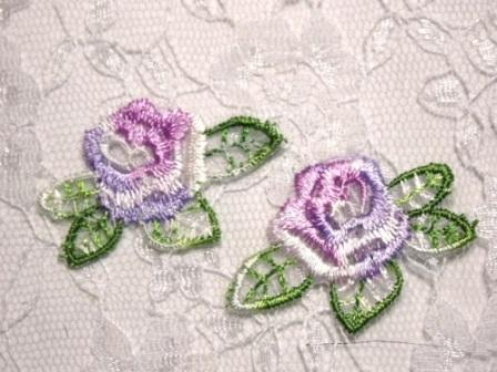 AC107 Lavender Rose Floral Mirror Pair Embroidered Appliques