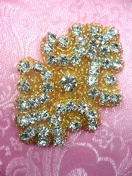 ACT/0477 Gold Backing Cinderella Genuine Rhinestone Beaded Applique 3""