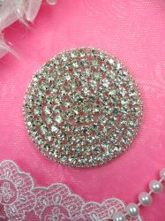 ACT/DH6A Circle Silver Beaded Crystal Rhinestone Round Applique 2.5""