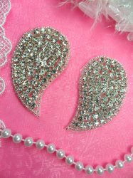 ACT/DH6X/B Paisley Mirror Pair Silver Beaded Crystal Rhinestone Wing Appliques 2.5""