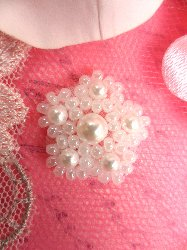 """ACT/FS188 Petite White Pearl Beaded Applique .75"""""""