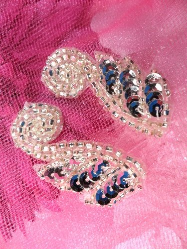 """ACT/FS4439 Silver Mirror Pair Sequin Beaded Appliques 1.75"""""""
