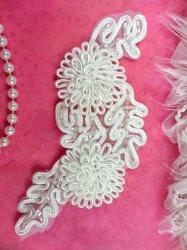 """ACT/FS4796 Bridal Sash Applique White Beaded 3D Floral Vine 6"""""""