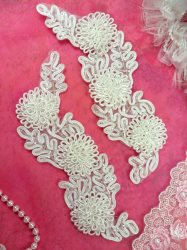 "ACT/FS4796 Bridal Sash Appliques White Beaded 3D Floral Vine Mirror Pair 7.5'"""