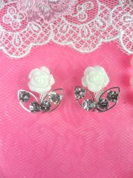 ACT/N50 Set of 2 White Rose Silver Crystal Clear Rhinestone Metal Backing Embellishments .75""