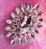 """ACT/TS114/A Silver Crystal Clear Rhinestone Applique Embellishment Marquise 2.75"""""""