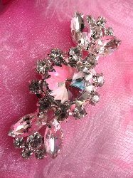"ACT/TS116/A Silver Crystal Clear Rhinestone Applique Embellishment 2.5"""
