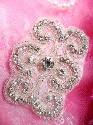 ACT/TS124 Silver Beaded Crystal Rhinestone Applique 3""