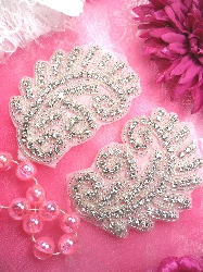 ACT/TS131  Mirror Pair Silver Beaded Crystal Rhinestone Appliques 3.75""