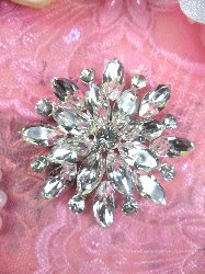 ACT/TS58/A Round Crystal Clear Glass Rhinestone Embellishment Metal Back 2""