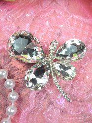 ACT/TS58/B Petite Butterfly Crystal Clear Glass Rhinestone Embellishment  Metal Back 1.75""