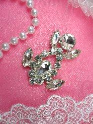 """ACT/XR163A  Silver Crystal Rhinestone Applique Embellishment 2"""""""