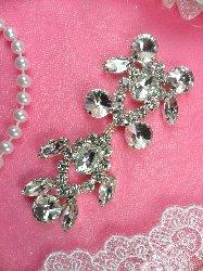 """ACT/XR163-C  Silver Crystal Rhinestone Applique Embellishment 3.5"""""""